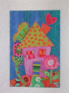 HOUSE- Whimsical Quilted Appliqued Fabric Postcard Welcome home