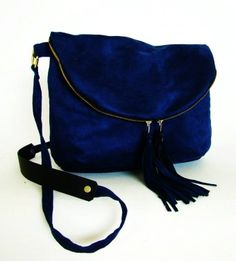 Foldover Day Traveler Bag in cobalt blue, fold over cross body bag in vegan suede with leather tassels, ready to ship