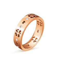 New Arrival Rose Gold-Color Stainless Steel Hollow Out Flower Heart Jewelry Rings For Charming Women's Party Jewelry #Affiliate