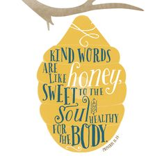 The words sweet and healthy are rarely mentioned in the same sentence. Yet, that is exactly how this proverb likens a kind word. It's like honey. And it's both sweet to the soul and healthy for the body.