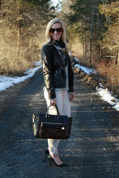 Two in One: black leather moto jacket, waffle-stitch sweater, cream denim, floral scarf, black pumps, Brahmin leopard Anna satchel
