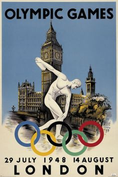 London 1948 Olympics Poster. Our tips for things to do in London: http://www.europealacarte.co.uk/blog/2010/07/22/best-london-travel-tips-best-things-to-do-in-london/