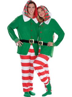 Stay up for Santa in our Elf One Piece Pajamas! Adult Elf One Piece Pajamas has an attached oversized hood with pom-pom and looks just like an elf's outfit.