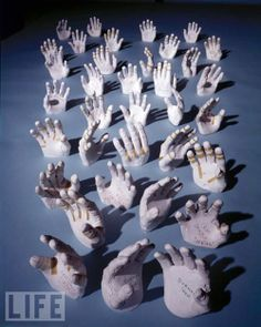 Hands: These are the hands of the Apollo astronauts, the plaster casts created to make their custom gloves in Houston, Texas, 1968. High five! Each of the space suits was custom made for each astronaut, fitted to perfection. That includes the gloves, which required precise measuring for maximum comfort and safety. via gizmodo. Thanks to Josh Draper #Hands #NASA