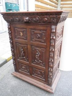 French Antique Auction Starts On 3/20/2016 lovely cabinet done in the Breton style. Brittany( Breizh, Bretagne, Breton) is a #Celtic country in the nw of France. Breton style features images of everyday people working--fishing, baking, farming, etc.