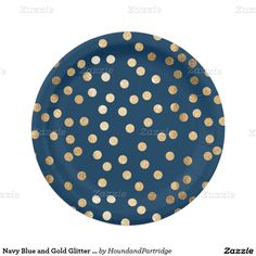 Navy Blue and Gold Glitter Dots Paper Plate 7 Inch Paper Plate