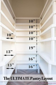 The Ultimate Pantry Layout Design. Sharing our pantry reveal and well as the layout and dimensions for the custom shelving. The Ultimate Pantry Layout Design. Sharing our pantry reveal and well as the layout and dimensions for the custom shelving. Pantry Shelving, Pantry Storage, Kitchen Storage, Kitchen Shelves, Shelving Ideas, Storage Ideas, Kitchen Cabinets, Open Shelving, Kitchen Countertops