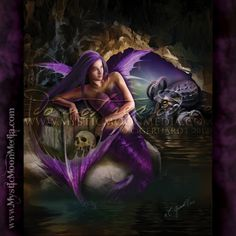 """""""The Siren Aerowen"""" - from my Random Creations Collection. This winged and scaled siren of the sea drapes herself upon her treasure as her loyal Kraken looms in the dark waters beside her. http://www.mysticmoonmedia.com/collections/art-gallery-giclee-prints-mystic-moon-media/products/the-siren-aerowen #FantasyArt #FantasyArtwork #DigitalPainting #FantasyArtPrints #digitalFantasyArt #"""