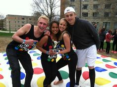 fundraising idea - massive game of Twister on the field!  Paint the circles on the grass...