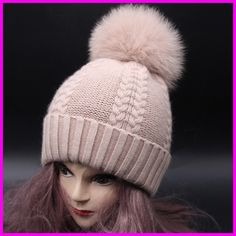 Real Fur Pompom Winter Hats For Women Cashmere Wool Knit Beanie Cap Fox Fur Pom Bobble Hat 2016 FURANDOWN-in Skullies & Beanies from Women's Clothing & Accessories on Aliexpress.com | Alibaba Group