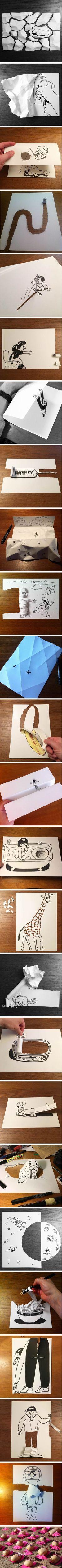 Copenhagen based Illustrator HuskMitNavn Uses Clever 3D Tricks To Bring His Cartoons To Life - 9GAG