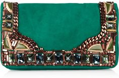 Embellished Suede Clutch by Matthew Williamson