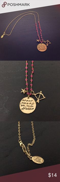 """Alisa Michelle necklace Gold with pink beading, one side says """"never give up on your dreams"""" and the other """"do it for you"""" length is around 13"""" long Alisa Michelle Jewelry Necklaces"""