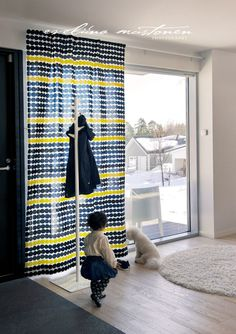 Light Grey Walls, Teenage Room, Curtains With Blinds, Marimekko, White Decor, Scandinavian Style, Window Treatments, Minimalism, Sweet Home