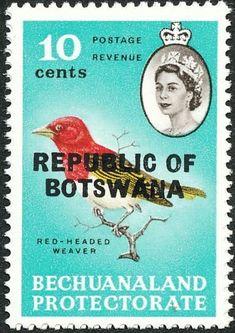 "Stamp: Red-headed Weaver (Anaplectes rubriceps) (Botswana) (Betschuanaland Stamps Overprinted ""REPUBLIC OF BOTSWANA"") Mi:BW 11,Sn:BW 11,Yt:BW 159"