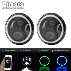 """151.99$  Buy here - http://aligqd.shopchina.info/go.php?t=32806217569 - """"Pair 7"""""""" round LED headlight CellPhone Control hi/lo Beam Headlights with Angel Eye For Jeep Wrangler Land Rover Defender Hummer""""  #buymethat"""