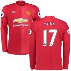 Daley Blind Manchester United adidas 2016/17 Replica Home Long Sleeve Jersey - Red