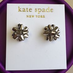 Last pair❗️Kate Spade silver bourgeois bow earring Last pair❗️Kate spade silver tone bourgeois bow earrings. Perfect for the holidays. kate spade Jewelry Earrings