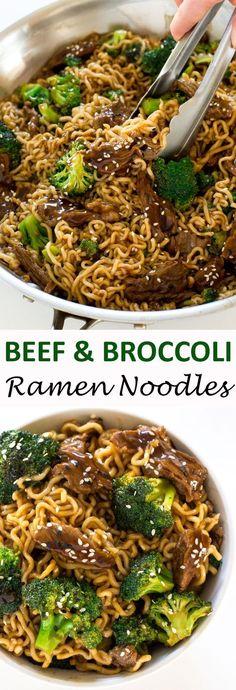 One Skillet Beef and Broccoli Ramen. Everything you love about beef and broccoli but with ramen noodles! | chefsavvy.com #recipe #food #beef #broccoli #ramen #noodles