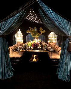 Velvet Drapes, Community Space, Wedding Reception Locations, Green Velvet, Dining Table, Table Decorations, Furniture, Emerald Green, Monaco
