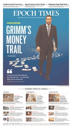 """Epoch Times leads with """"GRIMM'S MONEY TRAIL"""""""