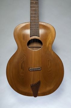 Front view of an archtop guitar, custom built by Dan Strack for a client.