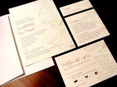 Happy Holly Berry Flourish Holiday Winter Custom Color Wedding Invitation December January Christmas Pine Tree Monogram Initial Green Red Black Unique Elegant Affordable Modern Simple Flourish Damask
