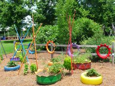 Children's garden, painted tires and tepees