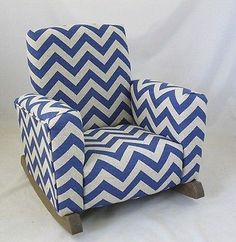 Exceptional New Childrens Upholstered Rocking Chair Zig Zag Chevron Blue Toddle .