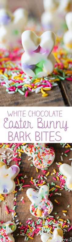 White Chocolate Easter Bunny Bark Bites - Adorable little white chocolate bunnies stuffed with sprinkles and M&M's. Perfect for Easter!