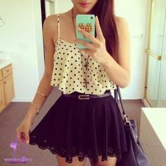 Sleeveless spotted blouse teenagers style 2014
