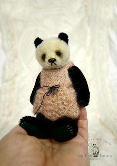 Mulan Miniature Panda Style  Mohair Artist Teddy by aerlinnbears