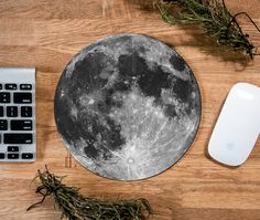 Moon Mouse Pad, Moon Mousepad, Vintage Mousepad, Full Moon, Custom Mousepad…