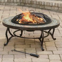 Pleasant Hearth Outdoor Natural Slate Wood Burning Fire Pit
