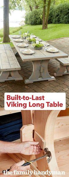 Built-in Last-Viking Long Table, . Built-in Last-Viking Long Table, Woodworking Projects Diy, Diy Wood Projects, Furniture Projects, Woodworking Plans, Wood Crafts, Diy Furniture, Woodworking Classes, Furniture Design, Woodworking Chisels