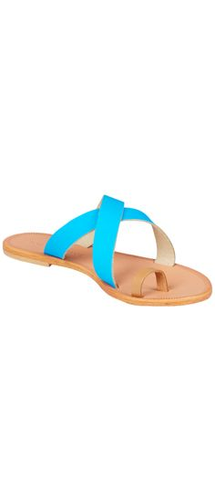 JOIE Roque Sandals Tan/Fluorescent Blue | Leather Sandals $87.50 final sale size 37 GOING