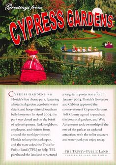 Postcrossing postcard from Cypress Gardens in Florida