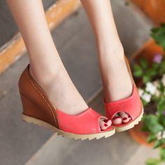 Contrast-color peep-toe wedges - US$ 18.47