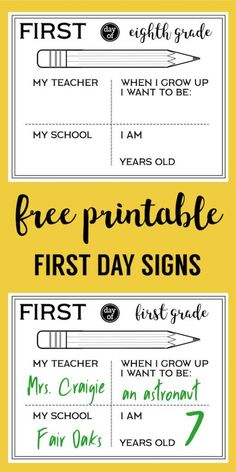 Free Printable First Day of School All About Me Sign Fill In. Preschool, Kindergarten, First grade through high school signs. #papertraildesign #1stday #1stdayofschool #allaboutme