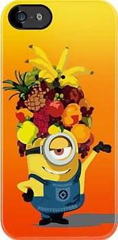 Despicable me minions hula dance with fruit hat Apple iPhone 5, iphone 4 4s, iPhone 3Gs, iPod Touch 4g case