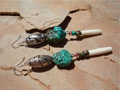 Sante Fe Earrings / Turquoise /  Boho Inspired by SigridAnneDesign, $20.00