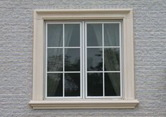 Concrete surrounds & stone moldings (concrete headers, & sills) can add elegance to any home or building. Exterior Window Sill, Window Molding, Concrete Lintels, Windows Exterior, Window Design, House Windows, Window Trim Exterior, Front Wall Design, Stone Exterior Houses