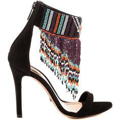 DONA SCHUTZ (930 BRL) ❤ liked on Polyvore featuring shoes, sandals, fringe, heels, high heel sandals, fringe shoes, high heel shoes, fringe heel sandals and schutz sandals