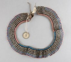 Collar made of beads (glass), thread (fibre), leather. Dolphin Teeth, Xhosa, Mexican Skulls, British Museum, African Art, Bones, Glass Beads, Beaded Necklace, Detail