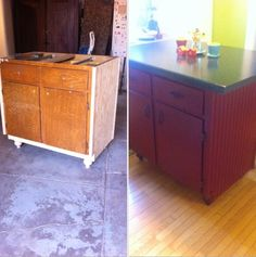Kitchen Island Made From Second Hand Cabinet Looks Great In My Kitchen