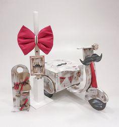 βαπτιστικό κουτί μηχανάκι με λαμπάδα και λαδοσέτ