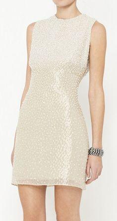 Badgley Mischka Silver And White Dress