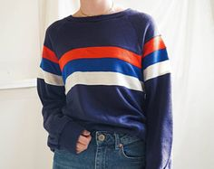 Vintage Clothing / 80s Striped Pullover Sweatshirt / Vintage Striped 80s Pullover Sweatshirt / Vintage Sweater Unisex Striped Pullover