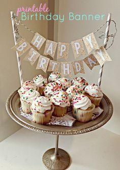 Birthday Cake topper Printable Best Of Printable Birthday Banner Cake topper<br> 30th Birthday Cake Topper, Happy Birthday Cake Topper, Birthday Cupcakes, Printable Birthday Banner, Diy Birthday Banner, Birthday Template, Simple Birthday Decorations, Dad Cake, Diy Cake Topper