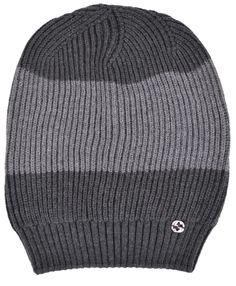 New Gucci Men's 310777 Grey Wool Colorblock Interlocking GG Slouchy Beanie Hat